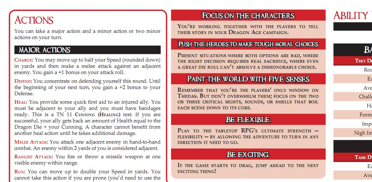 Cut and Paste PDF for the Dragon Age GM Screen | Dragon Age